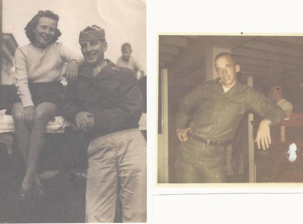PFC. William A. Derham 1944 INF.4th Inf. Div. Ardennes OCS Inf Candidate Paul J. Derham 1969 66th CO. Ft. Benning