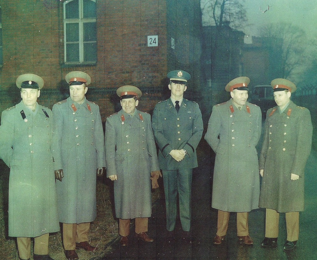 Captain Eric Lampe with Russian officers at Spandau Prison